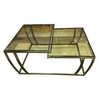 Metal & Glass 2 Tier Cocktail Table
