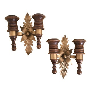 Vintage 1970s Candle Wall Sconces - A Pair