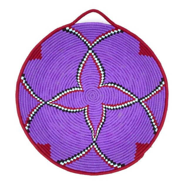 Purple and Red Moroccan Wool Tray - Image 8 of 8