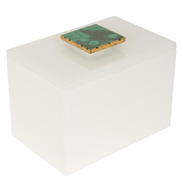 White Box With Malachite Top - Medium - Image 1 of 3