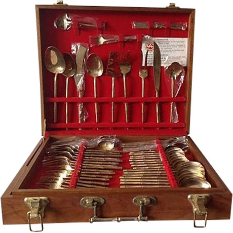 Image of Bronze Bamboo Flatware Set with Case - Set of 101
