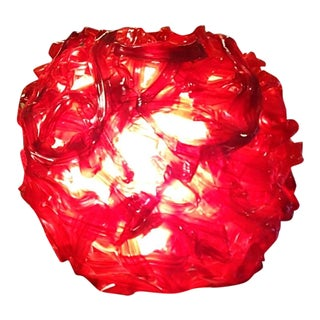 "Mid Century ""Spun Glass"" Red and White Swag Light"