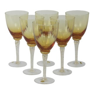 Venetian Glass Wine Goblets - Set of 6