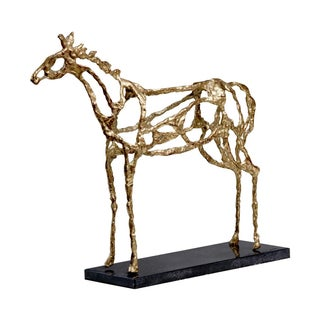 Gold Brutalist Horse Sculpure on Stone Base