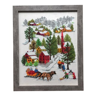 Vintage Winter Holiday Scene Colorful Embroideried Tapestry
