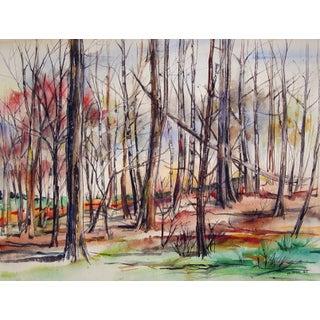 Modernist Autumn Forest Watercolor