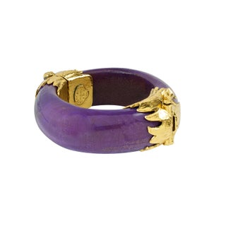 Gold and Violet Wood Bangle by Yves St. Laurent