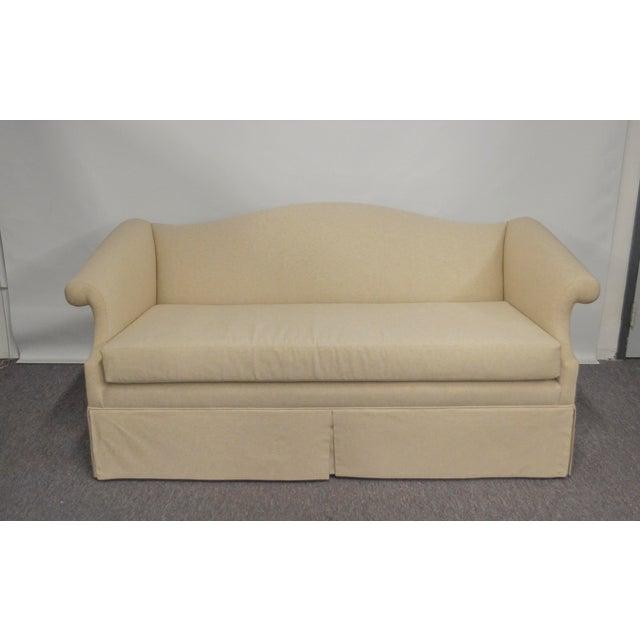 Vintage Linen Upholstered Loveseat - Image 4 of 4