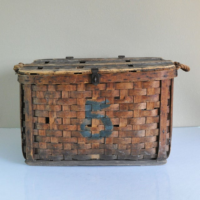Large Rustic Antique Shipping Basket Trunk - Image 2 of 8