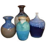 Image of Collection of Drip Glazed Ceramic Vases - Set of 4
