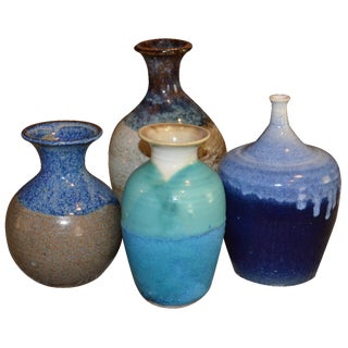 Collection of Drip Glazed Ceramic Vases - Set of 4