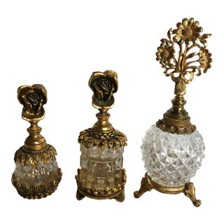 Hollywood Regency Ornate Perfume Bottles - Set of 3