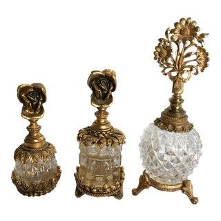 Hollywood Regency Ornate Perfume Bottles - Set of 3