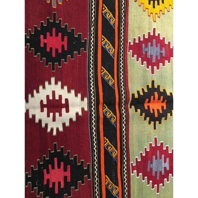 "Vintage Turkish Kilim Patterned Rug - 6'2""x11'3"" - Image 5 of 9"