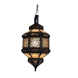 Moroccan Etched Glass Hanging Lantern