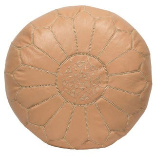 Embroidered Tan Papaya Whip Leather Pouf (Stuffed)