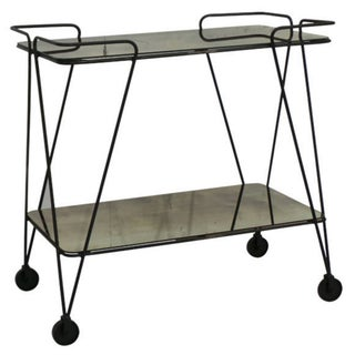 Mirrored Two-Tiered Bar Cart