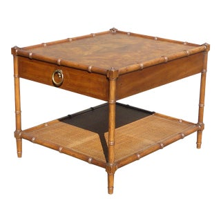 Vintage Drexel Heritage Faux Bamboo Burl Wood & Cane Side Table