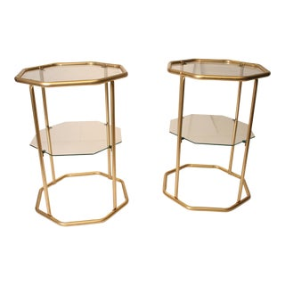 Hollywood Regency Glass & Gold Metal Side Tables - A Pair