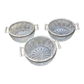 Vintage Faux Bamboo & Silver Edge Glass Bowls - Set of 3