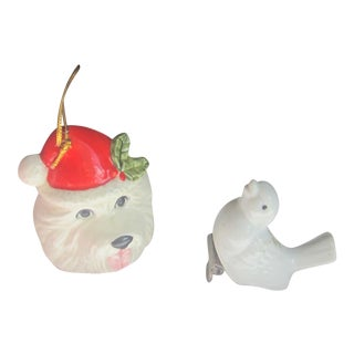 Vintage Christmas Tree China Dog and Bird Christmas Tree Ornaments - Set of 2