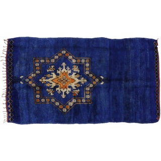 Vintage Berber Blue Moroccan Rug, 6'1x10'