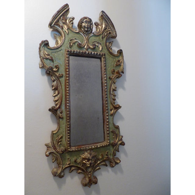 Vintage Rococo Green & Gold Gilt Carved Wood Mirror - Image 5 of 11