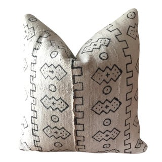 Boho Chic White African Mudcloth Pillow Cover