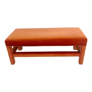Orange Silk Velvet Upholstered Parsons Bench