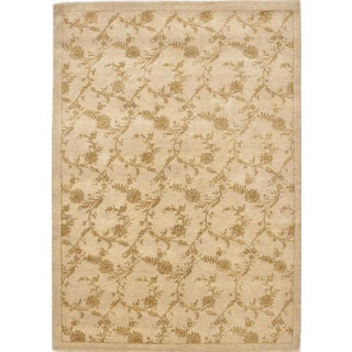 "Hand-Knotted Floral Rug - 5'7""x 8'"