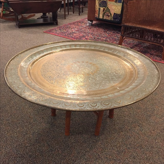 Moroccan Brass Tea Table - Image 2 of 6
