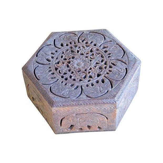Carved Soapstone Box w/Elephant Motif - Image 1 of 5