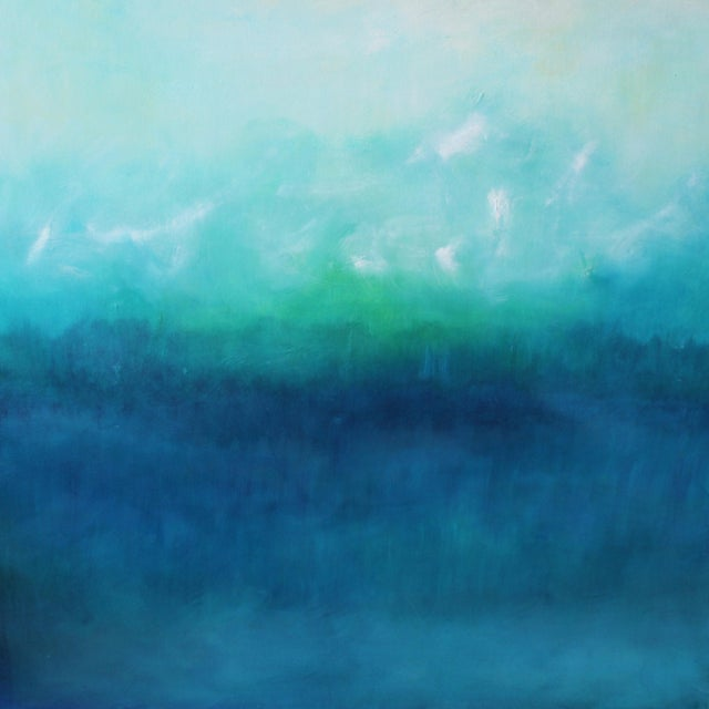 Modern Blue Horizon Landscape Oil Painting - Image 1 of 3