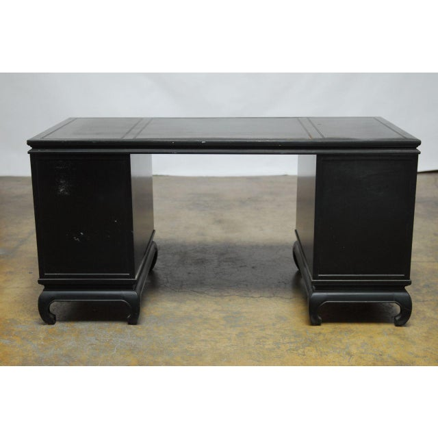 Mid-Century James Mont Style Asian Lacquered Desk - Image 9 of 9