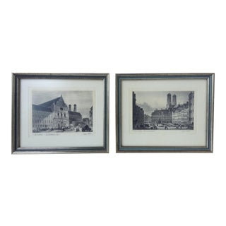 Signed German Stone Etchings - A Pair