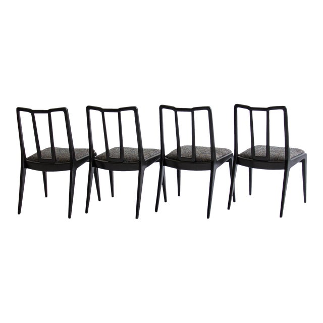 Ebonized John Stuart Dining Chairs - Set of 4 - Image 1 of 7