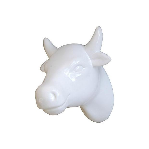 Image of White Porcelain Horned Cow Towel Holder