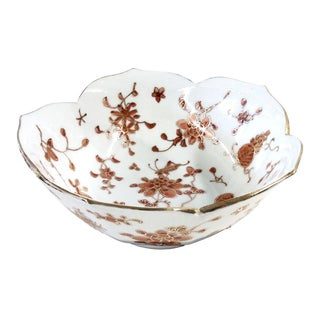 Vintage Hand-Painted Chinese Porcelain Lotus Bowl
