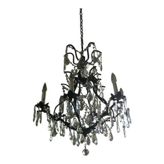 European Style Wrought Iron & Glass Chandelier
