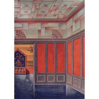 Art Deco Orange & Teal Pochoir, 1929