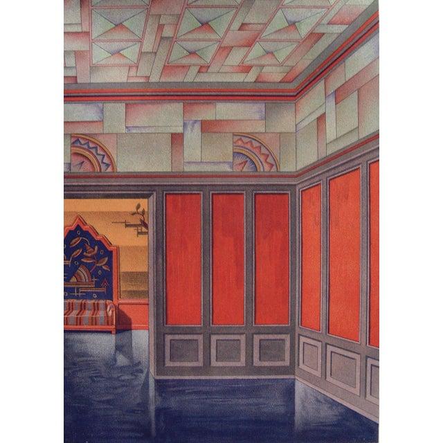 Art deco orange teal pochoir 1929 chairish for Pochoir deco