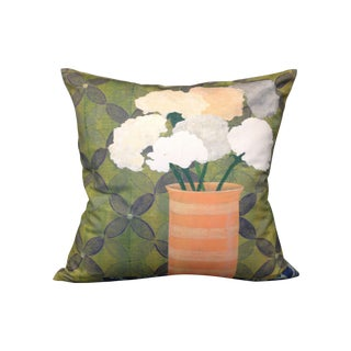 Square Green Floral Pillow