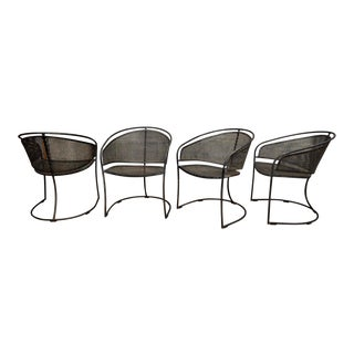 Vintage Woodard Era Mid Century Modern Iron Metal Mesh Patio Barrel Dining Chairs - Set of 4