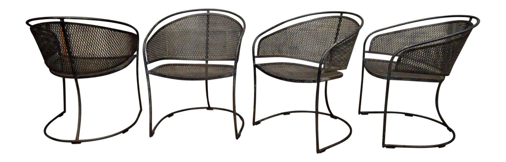Vintage Woodard Era Mid Century Modern Iron Metal Mesh Patio Barrel Dining  Chairs   Set Of
