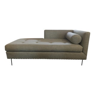 Custom Light Green/Gray One Arm Chaise