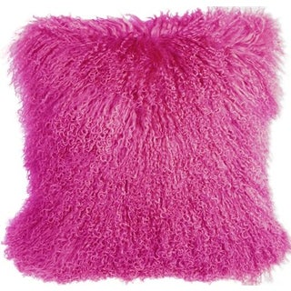 Mongolian Sheepskin Hot Pink 18x18 Pillow