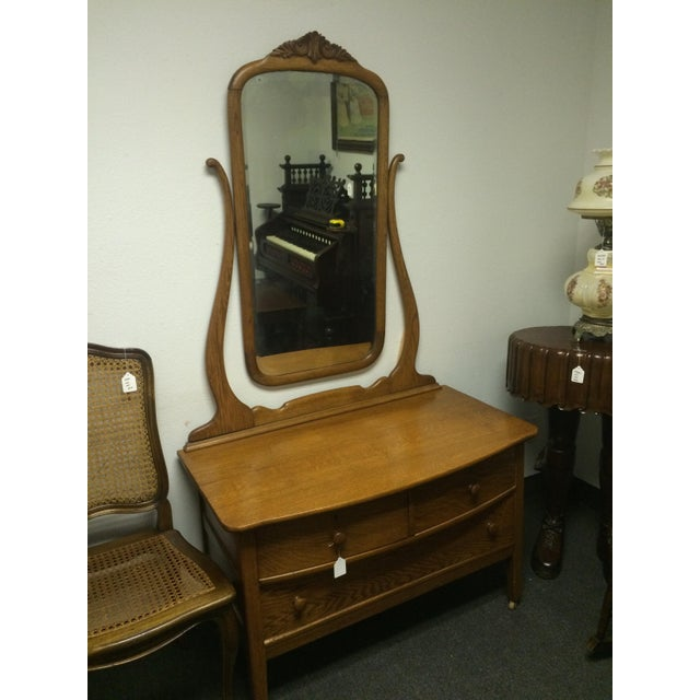 Solid Oak Antique Dresser/Vanity - Image 4 of 7