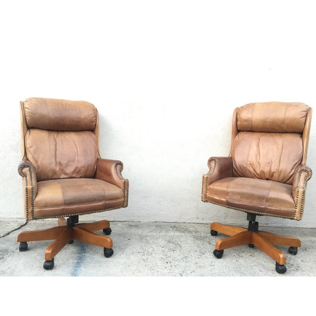 Mid-Century Italian Leather Chairs - Pair - Image 2 of 11