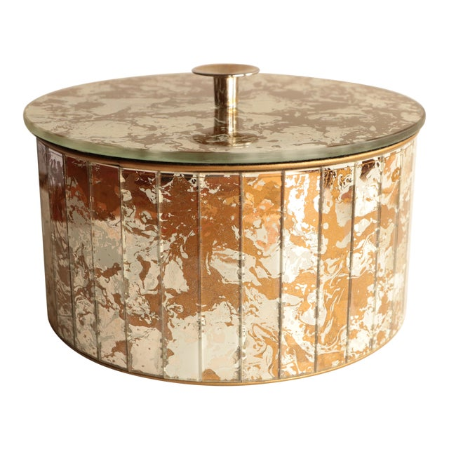 Marbled Golden Swirl Mirrored Box - Image 1 of 10