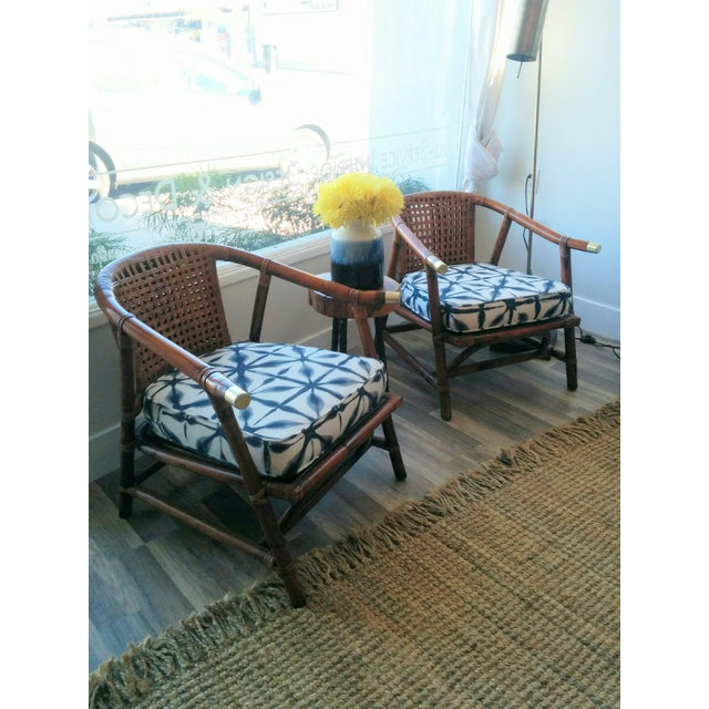 Image of Vintage Rattan 1950's Club Chairs - A Pair